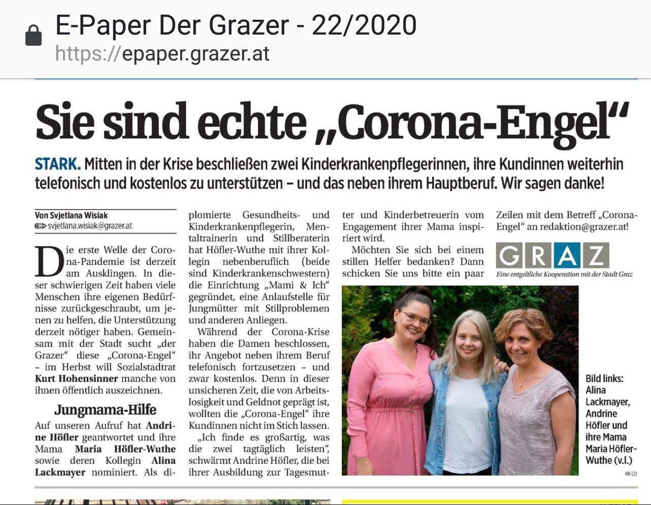 Stillberatung Graz Corona Engel Zeitungsartikel
