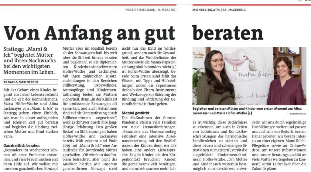 Stillberatung Graz Presseartikel in Woche Graz und Umgebung